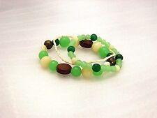 Round Jade Green Multi Strand Stretch  Bracelet   MADE IN USA