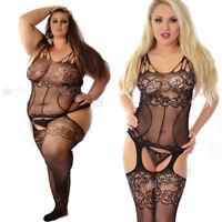 UK 6-26 Plus+ Bodystocking Nightie Fishnet Lingerie Underwear Body Stockings
