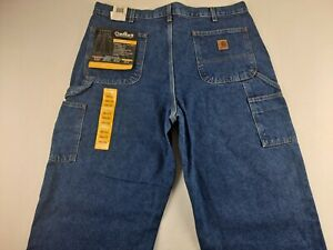 NEW Carhartt Double Front Logger Dungaree Fit Men 38 X 32 Blue Jeans Work Denim