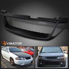 For 00-03 Nissan Sentra Black ABS Sport Mesh Front Bumper Upper Hood Grille