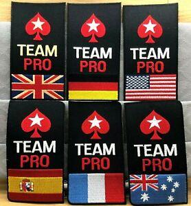 GENUINE POKER UK/FRANCE/SPAIN/GERMANY/USA/AUSTRALIA TEAM PRO IRON-ON PATCH