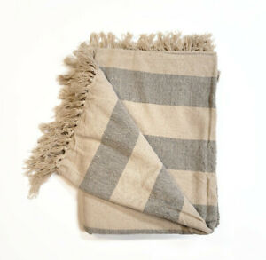 100% Cotton Beige & Gray Natural Woven Tassel Striped Chair Throw Blanket 50x65""