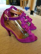 Ladies Cerise Pink Suede Logo 69 Ruffle Sandals Red Sole EU 37 UK 4 Fab Cond.