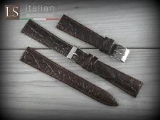 Cinturino in Pelle 18 LS COCCODRILLO Piatto Lucido Watch Strap Band Testa moro