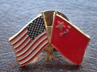 Vintage Retro  Pin Badge With Both The American flag and China flag (Lot 2