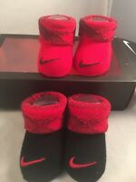 2 Pair Nike 0-6 Months Baby Booties Infant Newborn Red Boys Girls Gift (B2)