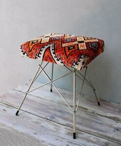 Mid-century Stool, Geometric Chair, Embroidered Stool, Pouf, Art Deco Style Vint