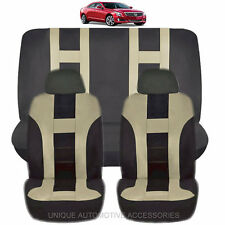 NEW BEIGE & BLACK POLYESTER AIRBAG READY SEAT COVERS COMBO 6PC SET FOR CARS 1125