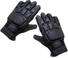 New Tansik Full Finger Plastic Back Airsoft Gloves PaintBall Black