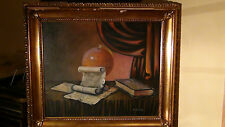 """1930 ORIGINAL OIL PAINTING ON CANVAS""""GLOBE AND BOOKS""""SIGNED BY """"A. BASCHELL"""""""