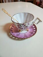 Antique Tea Cup Saucer and Gold Spoon Japan Trimont Ware