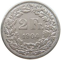 SWITZERLAND 2 FRANCS 1904 #t123 103