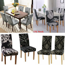 Black Grey Printed Dining Chairs Slip Covers Slipcover Elastic Stretch High Back