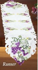 Deluxe Purple Grapes Table Runner Doily 68 x 13 Embroidered Machine Wash NEW!