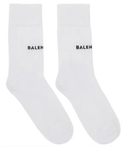 Balenciaga White logo Socks Cotton Size Medium (size 7-9)