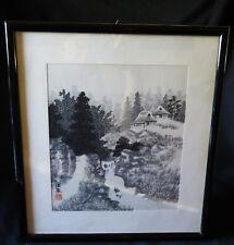 7257:Shikishi,Japanisches Aquarell,japanische Landschaft,schwarz weiss,gebraucht
