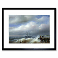 Painting Clays Rough Sea In Stormy Weather Framed Art Print 12x16 Inch