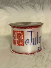 """Everything Christmas Patriotic 4th Forth of July Wired Edge Ribbon 2.5"""" x 9' New"""