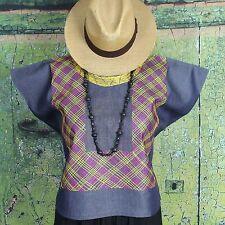Magenta & Yellow on Denim Geometric Huipil Tehuana Mexico Frida Hippie Santa Fe