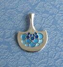 Vintage David Andersen Sterling Silver Pendant with Blue Enamel Design