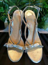 """Ivanka Trump 8M silver heels 4.25"""" strappy rhinestone embellished w/bow"""