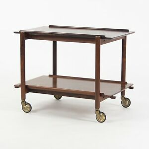1960s Vintage Poul Hundevad Danish Modern Two-Tiered Rosewood Serving Bar Cart