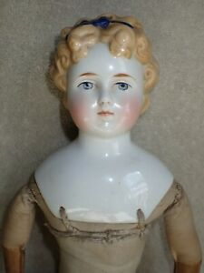 "Antique Blonde China Head Doll 19.5"" Leather Hands Red Boots Molded Blue Ribbon"