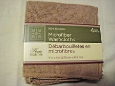 "Washcloths:HOME COLLECTION Microfiber Face Cloth 11""x11"" Bath 4 pack, Blue,Brown"