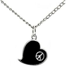 Black Heart Peace Sign Necklace