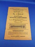 REPAIR PARTS LIST NO 3 PICK UP FOR  MASSEY HARRIS REAPER THRESHER FARM TRACTOR
