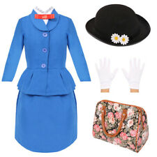 CHILDS MAGICAL NANNY COSTUME GIRLS DAISY HAT BOOK DAY CHARACTER FANCY DRESS