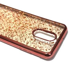 For LG Stylo 4 - Rose Gold Chrome Flake Soft Rubber Silicone TPU Skin Case Cover