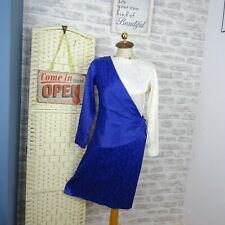vintage draped tea dress silky polyester royal blue regal 80s hen party M D542