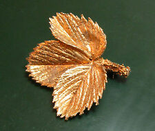 Flora Danica Sterling-SILBERBROSCHE in Blätterform vergoldet • Eggert Denmark