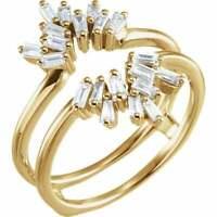 14K Yellow Gold FN 2Ct Baguette Diamond Ladies Wrap Enhancer Wedding Band Ring