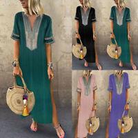 Women's Printed Long Sleeve V-neck Maxi Dress Hem Baggy Kaftan Long Dress