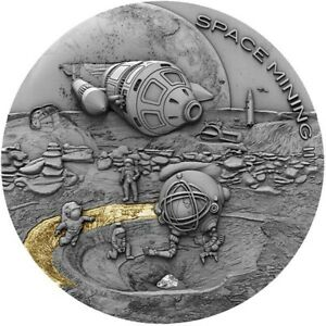 Niue Island 2019 1$ Space Mining II - Dar El Kahal Meteorite 1oz Silver Coin