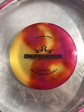 Dynamic Discs Defender Lucid Plastic Disc Golf 173G No Ink!🚫🖊 Red Yellow Swirl