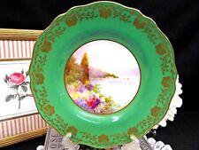 COPELAND SPODE painted plate artist signed rose floral lake Como portrait