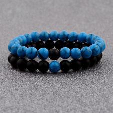 2Pcs/Set Couples Distance Bracelet Blue and Black 8mm Natural Stone Bracelets