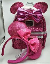 2019 Disney Parks Pink Sequin Disney Loungefly Mini Backpack w/ Mouse Ears!
