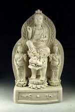CHINA ANTIQUES DEHUA WARE PORCELAIN KUANYIN BUDDHA ON LION
