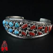 Beautiful Red Coral Blue Turquoise Cluster bracelet sterling silver 92.5
