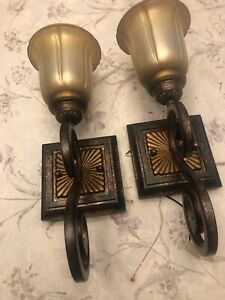 PAIR Cast Iron Complete  WALL SCONCE Lamps W Original Frosted Gold Shades FP