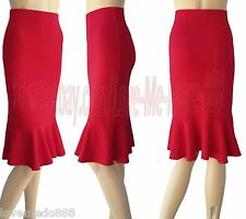 NEW Wear to Work High Waisted Fishtail Pencil Knee Length Skirts RED LARGE#2