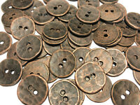 30mm Hammered Domed Metal 2 Holes 4 Large Antique Silver Button 1.2 in...