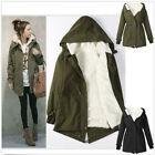 Women Parka Coat Winter Warm Fur Hoodie Fleece Overcoat Jacket Long Zip Outwear