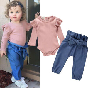 Toddler Infant Baby Girl Ruffle Romper Tops Jumpsuit Long Pants Outfits Clothes