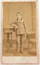 .1800s RENOWNED PHOTOGRAPHER SAMUEL HEER-TSCHUDI CDV of a BOY.
