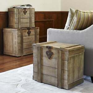 Home Storage Chest Rustic Trunk End Side Table Vintage Style Wood Cabin Medium